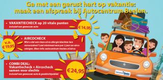Veilig en Gezond op vakantie met de Combideal van Autocentrum Beelen (Lisserbroek). Airco check EN Veiligheidscheck voor je auto voor slechts € 24,95